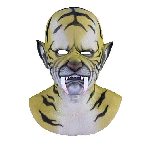 Tiger Kostüm Männlich - NIJY Party Crossdress Maskerade Halloween Silikonmaske Tiger Kopfbedeckung Tanzparty Silikon