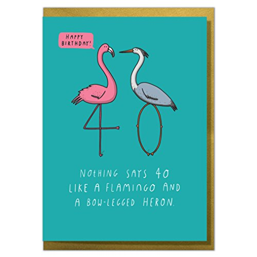 Nothing Says 40 Like A Flamingo and A Bow-Legged Heron. Funny 40th Birthday Card