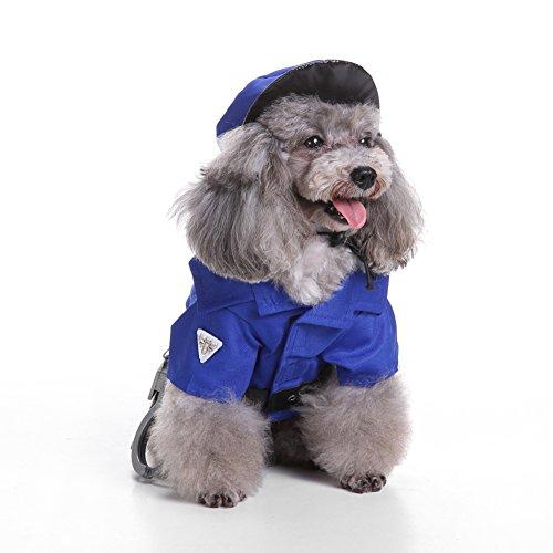jianfeng Pet passgenau Cute Puppy Pet Mini Polizei Anzug Kostüm Hat Handschellen Rollenspiele Weihnachts Hund (Halloween Kostüme Cute Zusammen)