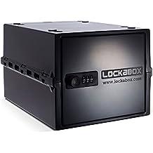LOCKABOX negra. Caja de seguridad para el hogar   alimentos, medicamentos y artículos del hogar   seguro para la nevera y el congelador   portátil, higiénico y versátil. l 31x a 21x h 17cm   fabricado en Gran Bretaña