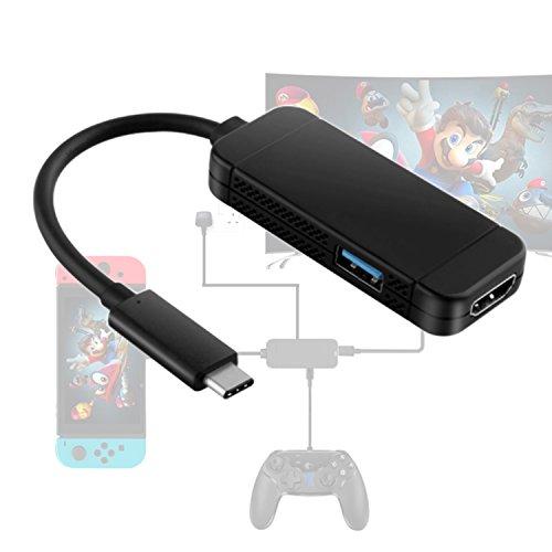 Hikfly Typ C zu HDMI Adapter Konverter für Nintendo Switch mit USB 3.0 Port Portable Mini Dock für - Für Reisen Konverter