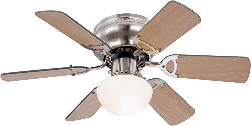 Deckenventilator mit Licht Leise Zugschalter Deckenleuchte mit Ventilator Beleuchtung (3 Stufen, Deckenlampe, 76 cm, Rechts Links Lauf, Buche Graphit)