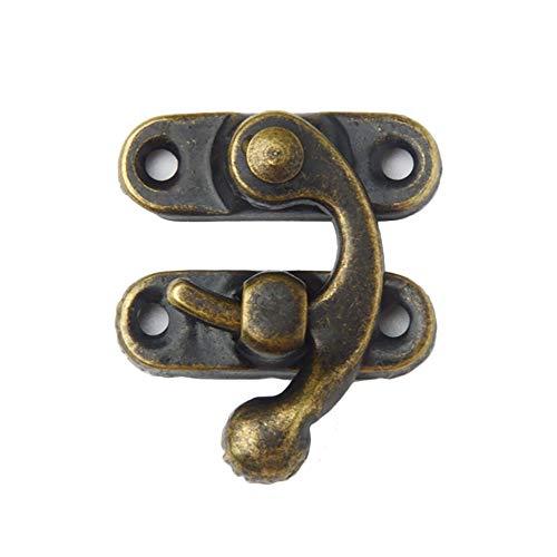 Verdelife 12pcs Antique Bronze Eisen Vorhängeschloss Haspe Haken-Verschluss für Mini-Schmuck Holzkiste mit Schrauben Möbelbeschlägen -