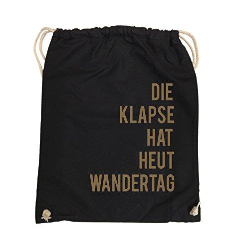 Comedy Bags - DIE KLAPSE HAT HEUT WANDERTAG - Turnbeutel - 37x46cm - Farbe: Schwarz / Pink Schwarz / Hellbraun