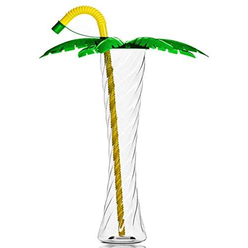Natura Resort Palme BECHERN Plastik Kelchglas für Party Slush Eis Cola Sorbet Getränke 350ml 12oz (Grün mit Gelbem Trinkhalm, 12 Kästen - 648 Bechern)