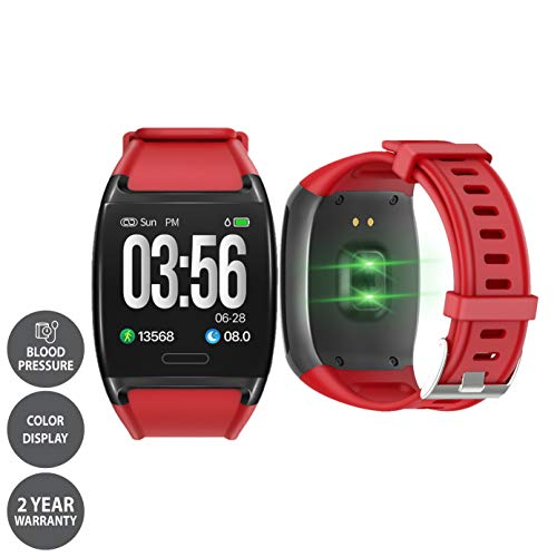 LCARE Watch with Blood Pressure + Heart Rate monitor + Smart Activity tracker + Call alert for Android and iPhone (Red)