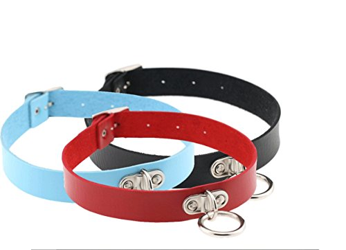 Esenfa 3pezzi collare Unisex Vintage, stile punk Emo, Cuore, Collana girocollo In Pelle, 40,6 cm, Lattice, black red blue, 40,6 cm