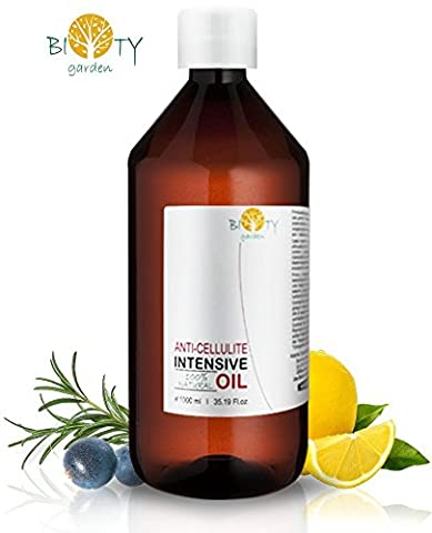 biOty garden Intensive Anti Cellulite Oil 100% Natural with Pure Essential Oil of Lemon, Rosemary, Cinnamon, Basil and Juniper Berry - Penetrates Skin Deeper Than Cellulite Cream - Targets Unwanted Fat Tissues & Improves Skin Firmness – 3.51 Fl