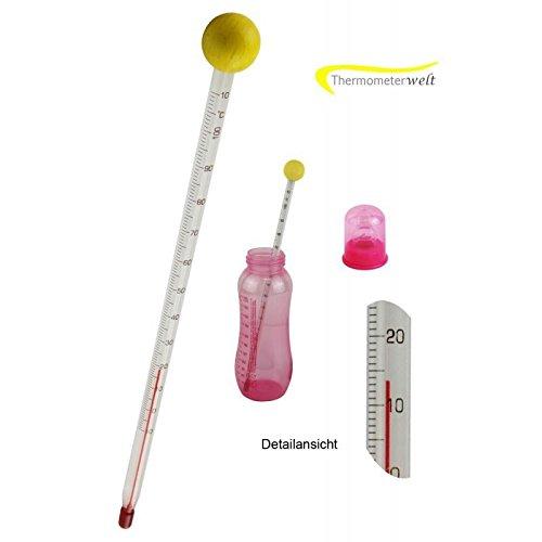 Thermomètre monde 4935 Biberons Thermomètre en verre avec boule en bois jaune 24 cm analogique