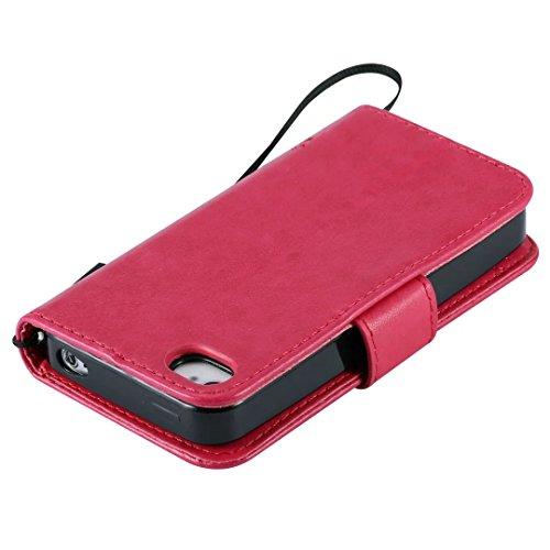 iPhone Case Cover Solide couleur Premium PU cas de cuir embossage motif Flip Stand Case couverture avec carte et Cash Slots pour IPhone 4 4S ( Color : Gold , Size : IPhone 4 4S ) Rose