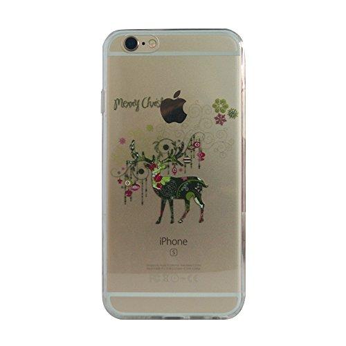 VCOMP® Transparente Silikon TPU Handy Schutzhülle mit Motiv Cartoon Disney für Apple iPhone 5/ 5S/ SE - Winnie the Pooh Rentier
