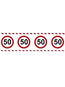 Folat - Cinta de Barrera para Fiesta con señal de Tráfico 50, 15m
