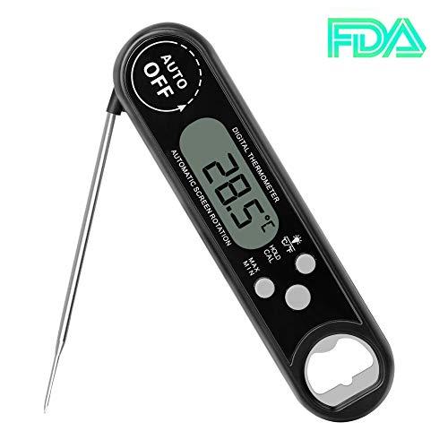 Fleischthermometer, AZUNX Sofortige Lesbares Klappbares Elektronisches Küchenthermometer für BBQ Milch Kaffee Babynahrung, Schwarz