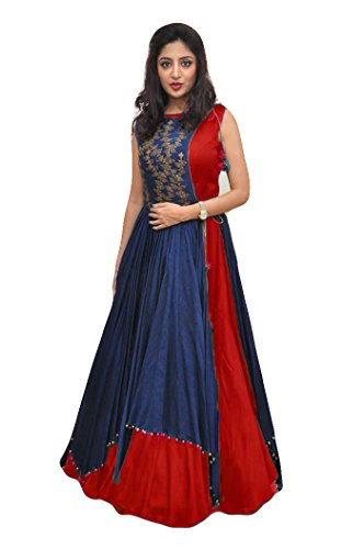 ECOLORS FAB Women's Free Size Indo Western Dress ( Indo Westerns_Taffeta Silk_Free Size ) (red)