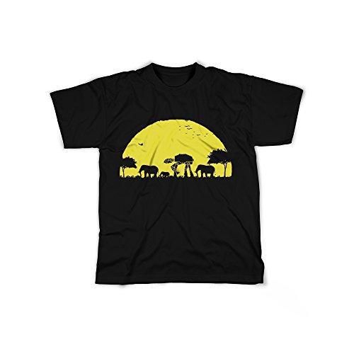 Männer T-Shirt mit Aufdruck in Schwarz Gr. XL Roboter Elefant Film Design Boy Top Jungs Shirt Herren Basic 100% Baumwolle Kurzarm (Fantasy-film-t-shirt)