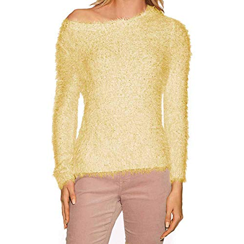 BURFLY Womens Lady Solid Colour Long-Sleeve Fleece Sweatshirt Fluffy Fitted Pullover Sweater Blouse Tops