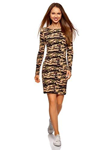 oodji Ultra Damen Enganliegendes Kleid mit U-Boot-Ausschnitt, Grün, DE 40 / EU 42 / L (Einfachheit Damen-kleid)