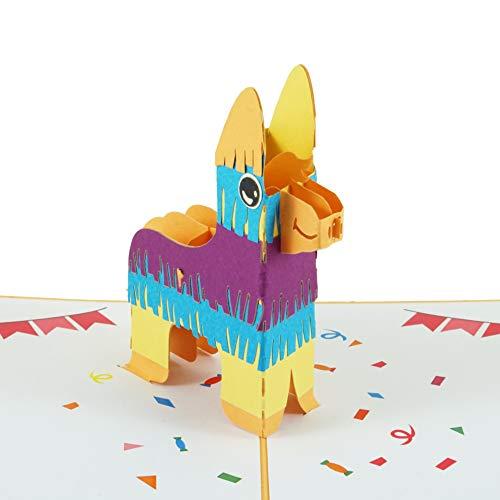 Geburtstagskarte Lama Pinata, 3D-Karte inklusive Umschlag, lustige Pop-Up Karte zum Geburtstag, als Glückwunschkarte, Grußkarte, Geschenkkarte oder Gutschein