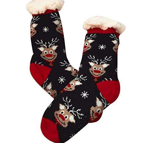 Vektenxi Weihnachten Weihnachtsmann Schneemann Rentier Männer Frauen Lamm Kaschmir Warme Rohr Socken Warme Weihnachten Jungen und Mädchen Lamm Samt Schneemann Hohe Qualität - Rohr Socken Mädchen