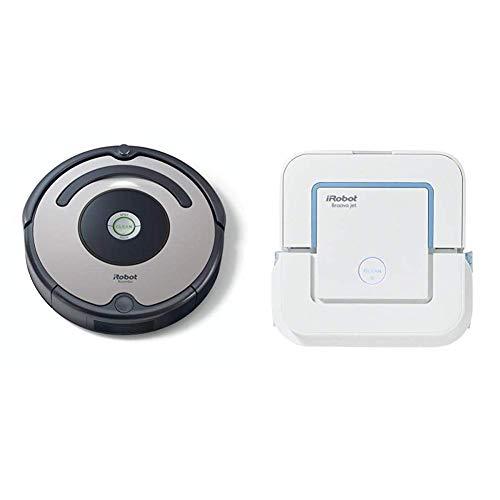 iRobot - Set con Roomba 615 Robot Aspirador para Suelos Duros y Alfombra, Tecnología Dirt Detect + Braava Jet 240 Robot Fregasuelos, 3 Modos de Limpieza, Óptimo Cocinas y Baños, Paños Desechables Incluidos