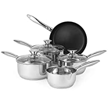 Russell Hobbs Classic Collection 5-Piece Pan Set, Stainless Steel, Silver