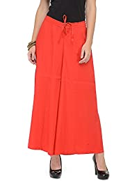 Ayaany Red Solid Cotton Flared Palazzo Pants