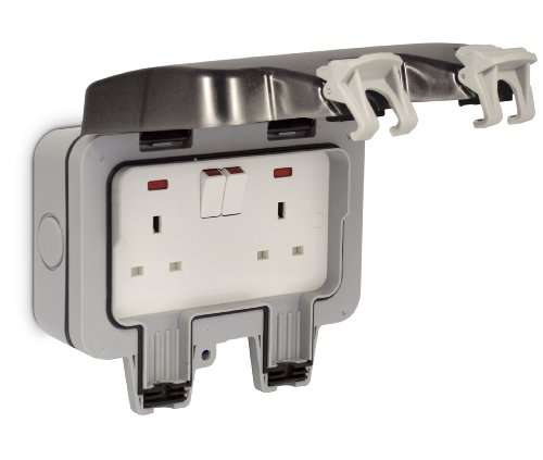 Masterplug WP22 13 A 2 Gang Storm Weatherproof Outdoor Switched Socket Double Pole