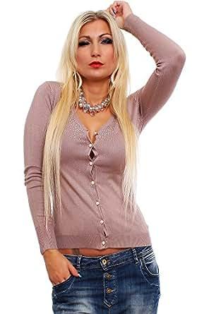10195 Fashion4Young Damen Cardigan aus feinem Strick Bolero Jacke Jäckchen in 9 Farben Gr. 36/38 (36/38, Braun)