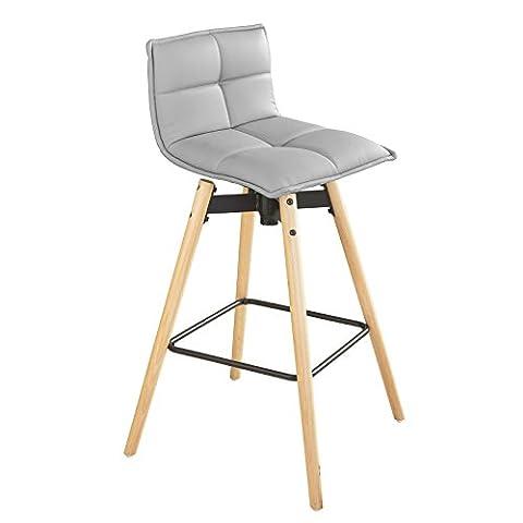 SoBuy® FST45-HG Tabouret de bar cuisine rotatif à 360° avec dossier et repose-pieds fauteuil bistrot haute qualité- Gris