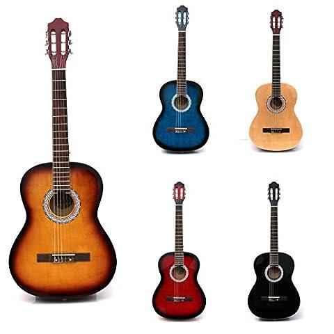 RayGar Akustikgitarrenset (4/4-Größe, mit Nylonsaiten, inkl. Tasche, Gurt, Plektrum, Stimmpfeifen und Gitarren-Lern-DVD)