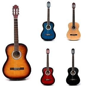 RayGar Sunburst 39'' 4/4 Full Size Acoustic Nylon Classical String Guitar Package Pack - New (Sunburst)