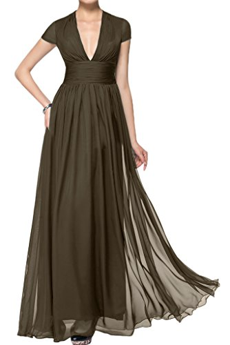 ivyd ressing robe courte ligne V de la découpe A Manches Longue Prom Party robe robe du soir Marron