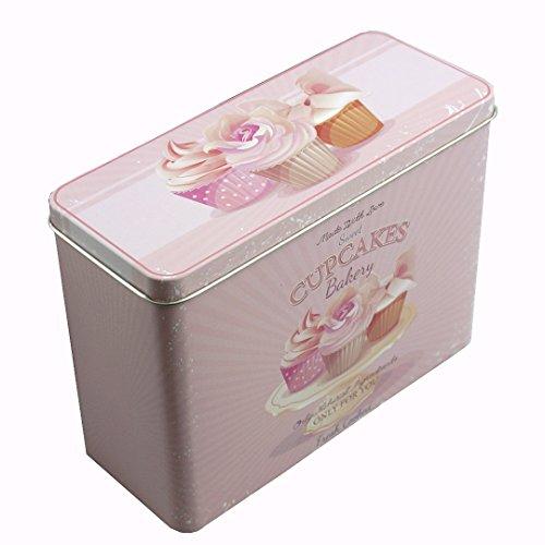 Knäckebrotdose Keksdose Gebäckdose Blechdose Vintage eckig, ca. 18 x 7.4 x 13.8 cm, Cupcakes, rosa/pink
