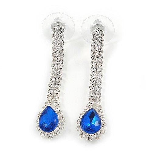 sposa/matrimonio/trasparente/Blu zaffiro cristallo orecchini a goccia in metallo color argento-40mm L