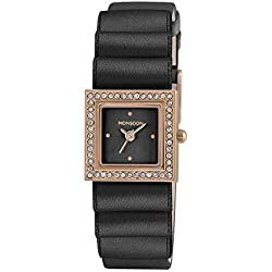 Monsoon Women's Quartz Watch with Black Dial Analogue Display and Black PU Strap MO2006