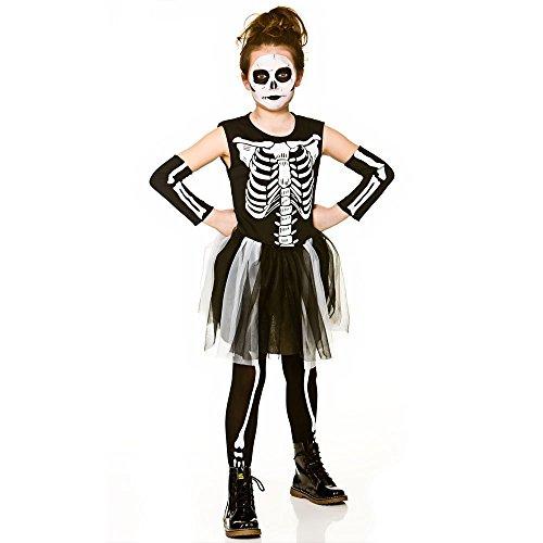 Traje de esqueleto del traje de Víspera de Todos los Santos del tutú de las muchachas (8-10 años)