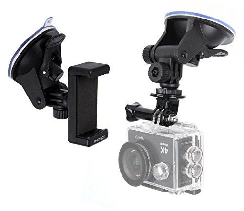 Photecs® Universal Saugnapf Halterung V2 (55-85mm), für Smartphone, Kamera, Handy, Action Cam, GoPro Hero, Dash Cam, Navigation etc. an der Windschutzscheibe, KFZ, etc.