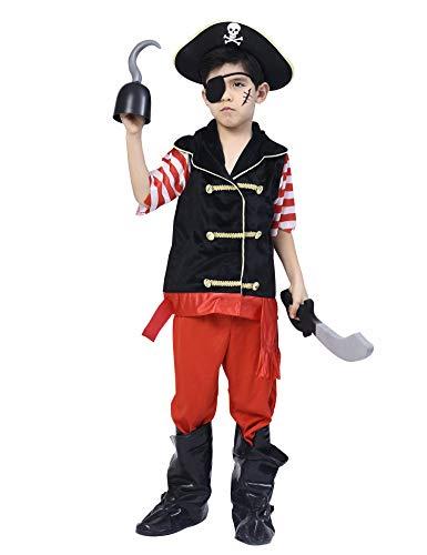 Verkauf Zum Kostüm Kleinkind - IKALI Piratenkostüm für Jungen, Deluxe Buccaneer Outfit mit Kapitänshut (5er Set) 9-10 Jahre