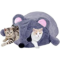 Hianiquaime Cama para Gato Forma de Rata Lindo Grueso Cálido y a Prueba de Viento Casa Casita Caseta Nido Cojine Bolsa de Dormir Amovible para Ratón Gato Perro y Animale Pequeño Gris