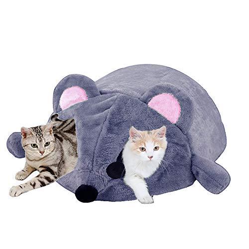 Hianiquaime Kuschelhöhle Warmes Katzenhöhle Katzenhaus Hundehöhle mit Abnehmbarem Kissen Karikatur Mausform Haus Haustierbett Maus Höhle Haustier Schlafsack für Kleine Katzen Hunde Haustiere