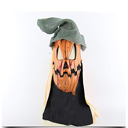 Kopf Mit Kostüm Kürbis Vogelscheuche - NSMZ Halloween Kürbis Kopf Vogelscheuche Maske mit Hut Gruselig Kostüm Requisiten Neuheit Thema Party Latex