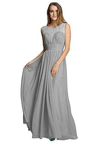 Azbro Women's Sleeveless Evening Lace Panel Chiffon Dress Grey