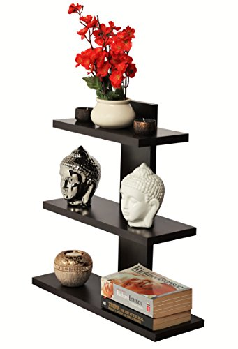 Bluewud Phelix Wall Decor Book Shelf / Wall Display Rack (Wenge, 3 Shelves) SB-PH-W