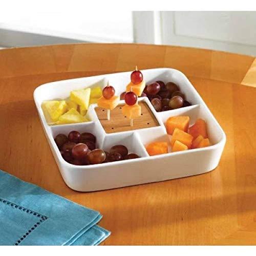 Food Server Display Teller-Multi Fach Serviertablett-Weiß Keramik quadratisch Vorspeise und Snack Serviertablett mit Bambus Zahnstocher Halter -