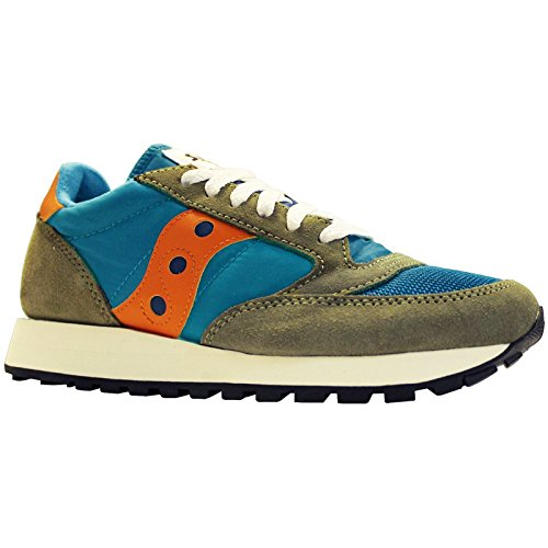 Saucony Youth Jazz Original Vintage A17000-6 Teal Olive Leather Trainers 37.5 EU