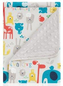 pirulos 64012220–Decke doppelseitig, 80x 110, Happy Zoo, Farbe grau