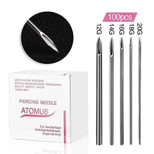 ATOMUS 100 Stück Mixed Sterilized Piercing Nadeln 12G 14G 16G 18G 20G Professionelle Tri-abgeschrägte Piercing Nadeln für Ohr Nabel Augenbraue Ohrlochstechen
