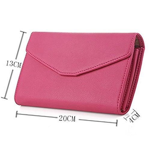 Woolala Donna Portafoglio Portafoglio Grande Portafoglio Portafoglio Telefono Portafoglio Organizzatore Slot Pen Con Wristlet, Rosso Pink