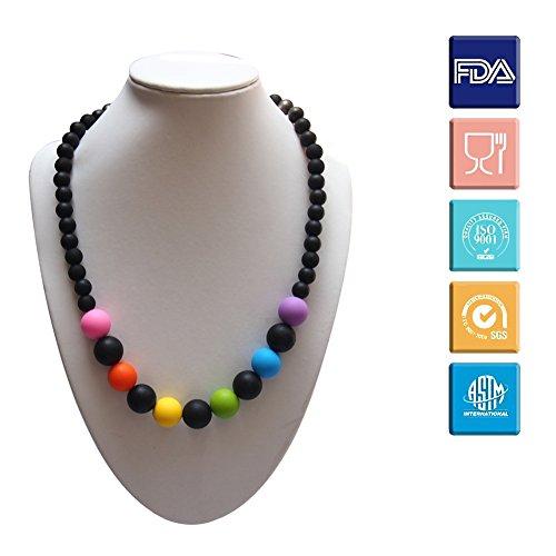 Kaigeli888 Baby Silikon Lebensmittelqualität BPA-freie bunte Perlen Kinderkrankheiten Halskette Beißring für Mama zu tragen