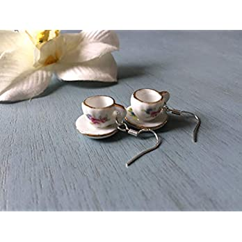 Whimsical sterling silver (925) teacup and saucer earrings, antique style porcelain jewelry, Selma Dreams jewelry, mad hatter